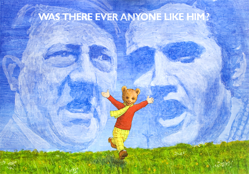Was there ever anyone like him?, portraits of Rupert Bear, Adolf Hitler, Elvis Presley and Jesus Christ painted by pop artist Trevor Heath