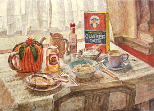A breakfast table painted by pop artist Trevor Heath