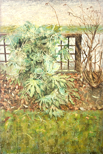 The fatsia japonina in the front garden from my window painted by artist Trevor Heath