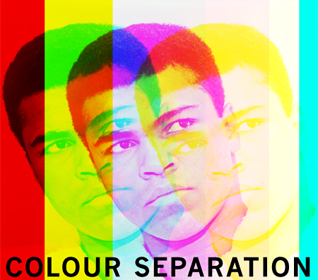 Colour separation, a digital image of Muhammad Ali created by pop artist Trevor Heath