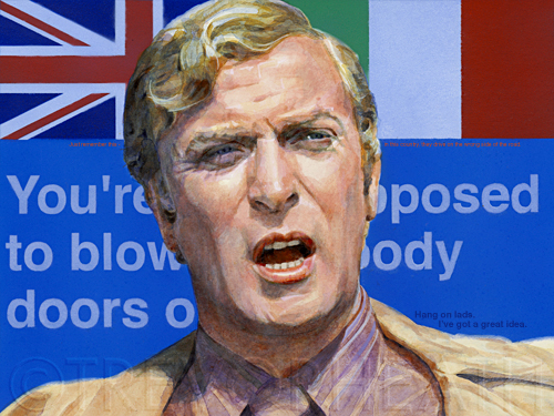 Portrait of Michael Caine as Charlie Croker in The Italian Job, Bloody doors, original digital print by pop artist Trevor Heath