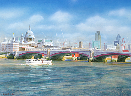 Acrylic painting of a boat cruising on the River Thames past St Paul's Cathedral by artist Trevor Heath also available as a limited edition digital print