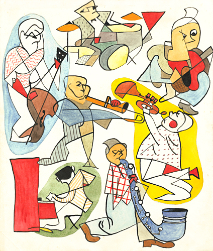 Cubist jazz band painted by artist Trevor Heath aged thirteen