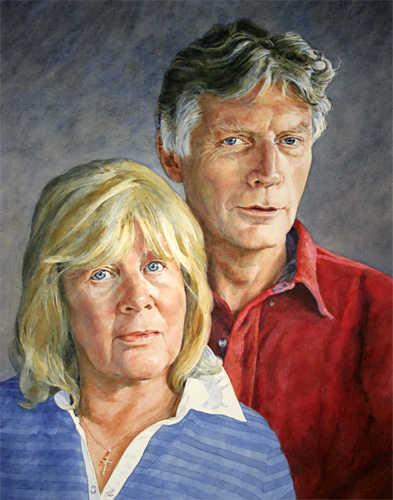 A portrait of David and Maggie Heath painted by artist Trevor Heath
