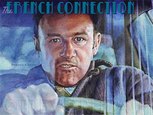 Portrait print of Gene Hackman as Popeye Doyle in The French Connection, an original digital print by pop artist Trevor Heath