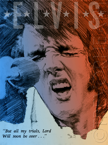 A portrait of Elvis Presley original print, Trials, by pop artist Trevor Heath