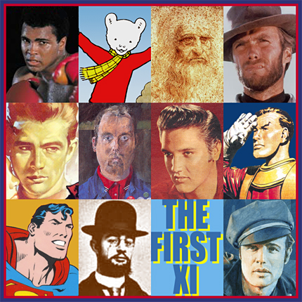 The first eleven, a digital image of heroes created by pop artist Trevor Heath