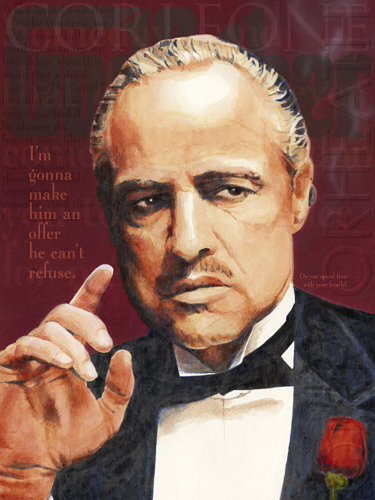 Portrait of Marlon Brando as the Godfather original print by pop artist Trevor Heath