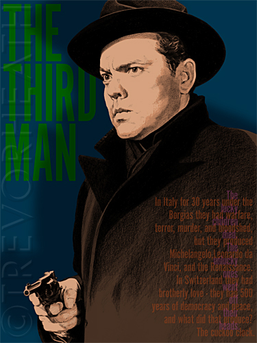 Portrait of Orson Welles as Harry Lime in the Third Man original print by pop artist Trevor Heath