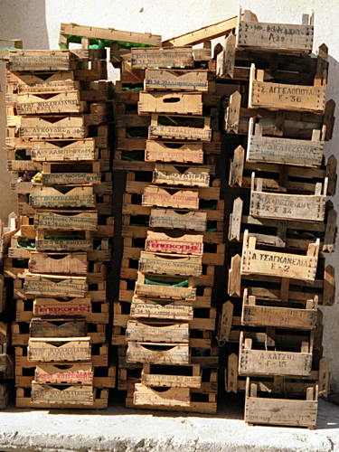 Stacked crates at Lixouri, Kefalonia photographed by pop artist Trevor Heath