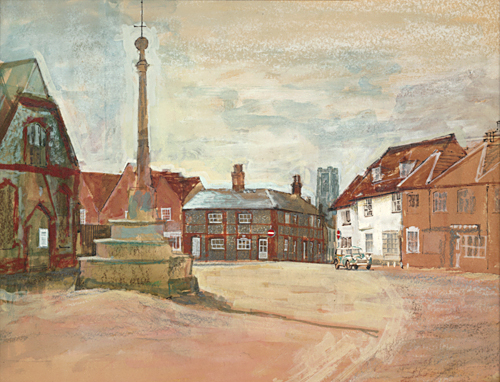 Lavenham market place painted by Trevor Heath when an art student aged 18