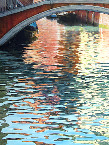 Oil painting of reflections of Ponte del Mondo Novo, Venice, by artist Trevor Heath