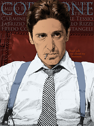 Portrait of Al Pacino as Michael Corleone original print by pop artist Trevor Heath