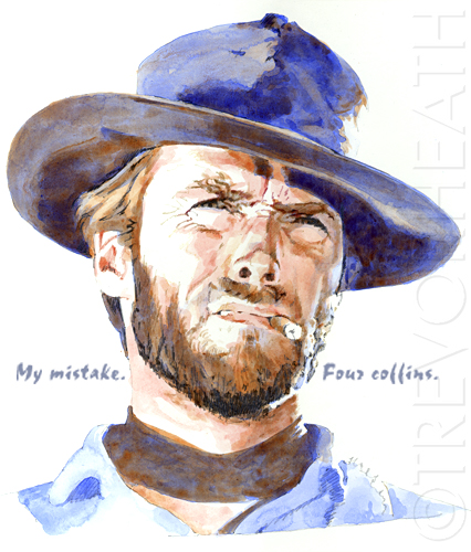 Portrait print of Clint Eastwood as The Man With No Name in Fistful of Dollars, My mistake. Four coffins, original print by pop artist Trevor Heath