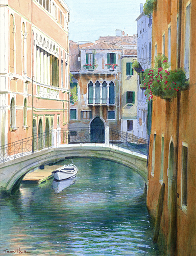 Acrylic painting of Ponte di Piscina di Frezzaria, Venice by Trevor Heath also available as a limited edition digital print