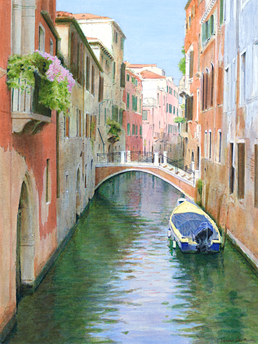 Acrylic painting of Ponte Malpaga, Venice by Trevor Heath also available as a limited edition digital print