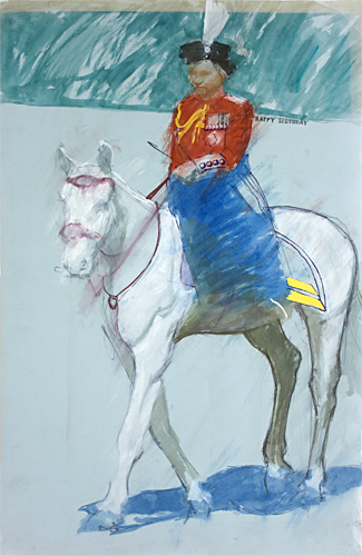 Happy birthday Queen at the trooping of the colour painted by pop artist Trevor Heath when an art student aged 19
