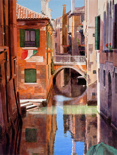 Oil painting of Rio de San Boldo, Venice by artist Trevor Heath