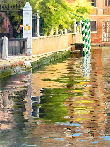 Oil painting of reflections on Rio di San Trovaso, Venice, by artist Trevor Heath