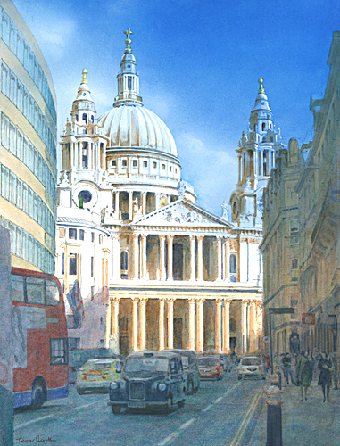 Acrylic painting of St Paul's Cathedral from Ludgate Hill painted by Trevor Heath also available as a limited edition digital print
