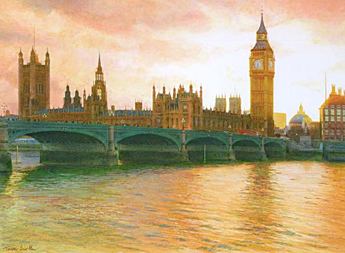 Acrylic painting of Thames reflections of the Houses of Parliament and Westminster Bridge at sunset by Trevor Heath also available as a limited edition digital print