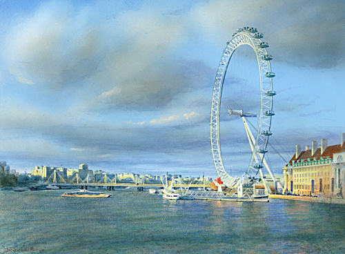 Acrylic painting of The Eye at sunset on the River Thames by Trevor Heath also available as a limited edition digital print