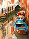 Blue boat on Rio San Maurizio, an oil painting of Venice by artist Trevor Heath