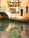 Moorings by the Ponte del Megio, an oil painting of Venice by artist Trevor Heath
