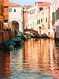 Sunset on Rio San Antonin, Venice oil painting by artist Trevor Heath
