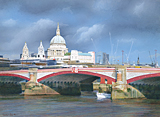 St Paul's Cathedral across the Thames painted by artist Trevor Heath