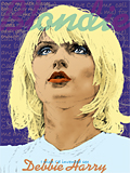 An original portrait print of Debbie Harry in Blondie by pop artist Trevor Heath