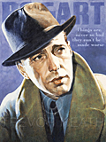 An original portrait print of Humphrey Bogart by pop artist Trevor Heath