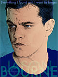 An original portrait print of Matt Damon as Jason Bourne in The Bourne Identity by pop artist Trevor Heath