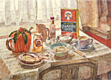 Breakfast painted by artist Trevor Heath