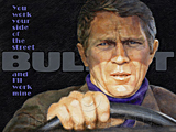 An original portrait print of Steve McQueen as Frank Bullitt in Bullitt by pop artist Trevor Heath
