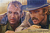 An original portrait print of Paul Newman and Robert Redford as Butch Cassidy and the Sundance Kid by pop artist Trevor Heath