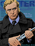 An original portrait print of Michael Caine as Jack Carter in Get Carter by pop artist Trevor Heath