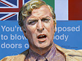 An original portrait print of Michael Caine as Charlie Croker in The Italian Job by pop artist Trevor Heath