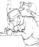 David operating drawn by artist Trevor Heath