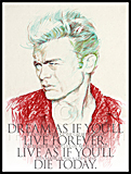 A portrait of James Dean painted by artist Trevor Heath
