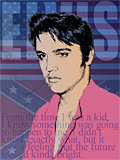 An original portrait print of Elvis Presley with American flags by pop artist Trevor Heath