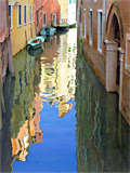 Venetian moorings, oil painting of Venice by artist Trevor Heath