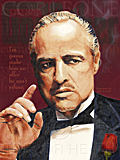 An original portrait print of Marlon Brando as Don Corleone in The Godfather by pop artist Trevor Heath