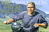 An original portrait print of Steve McQueen as Virgil Hilts in The Great Escape by pop artist Trevor Heath