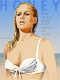 An original portrait print of Ursula Andress as Honey Ryder in Dr No by pop artist Trevor Heath