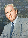 A portrait of John le Carre painted by artist Trevor Heath