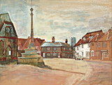 Lavenham Market Place painted by artist Trevor Heath