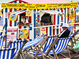 A man amongst deck chairs, Weymouth photographed by artist Trevor Heath