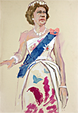 The Queen with sash painted by artist Trevor Heath