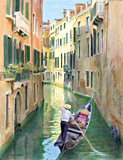 Rio de San Moise, Venice painted by artist Trevor Heath